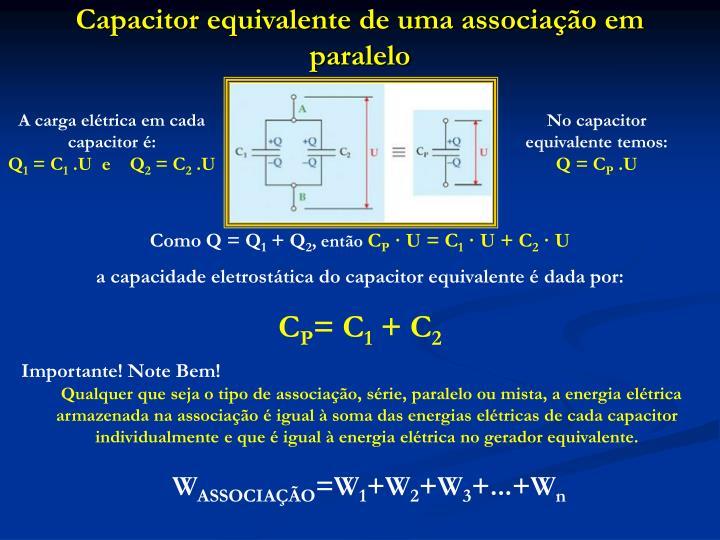 Capacitor equivalente de uma associação em paralelo