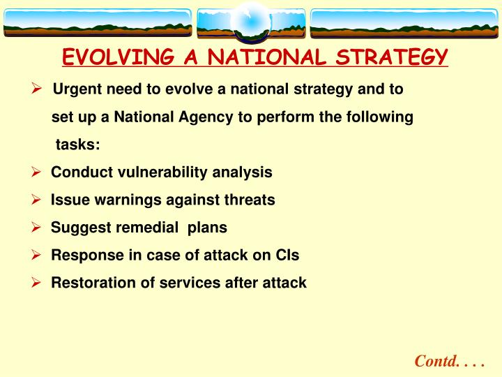 EVOLVING A NATIONAL STRATEGY