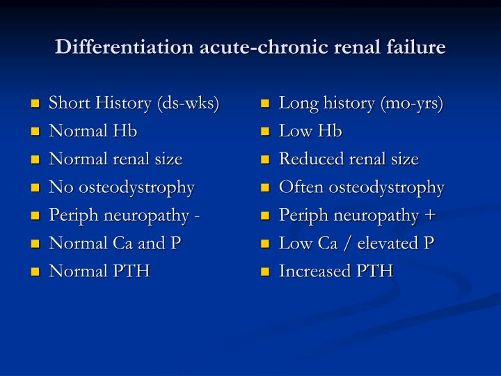 Differentiation acute chronic renal failure