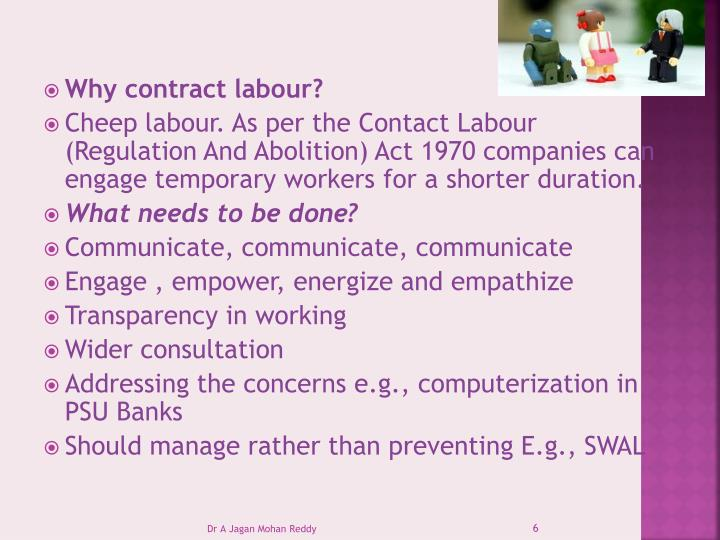 Why contract labour?