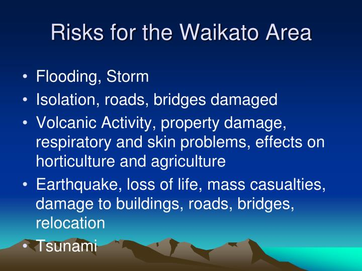 Risks for the