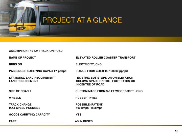 PROJECT AT A GLANCE