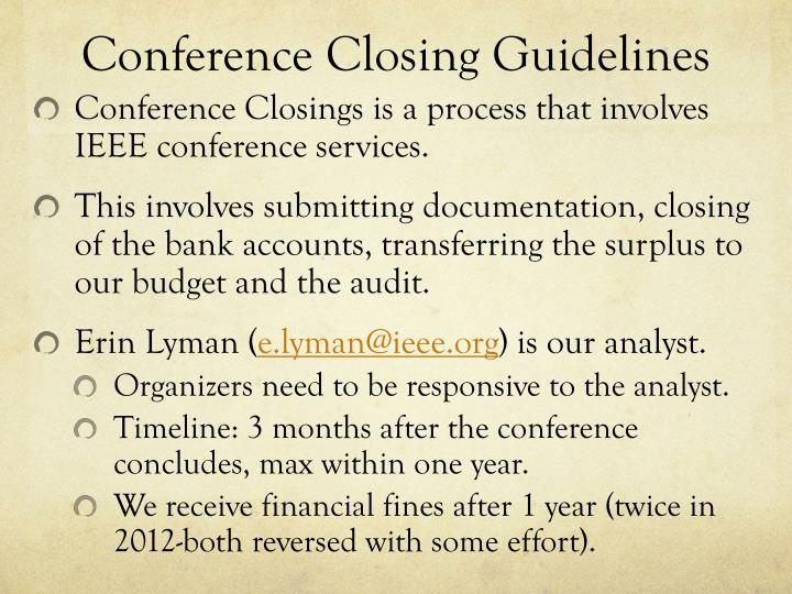 Conference closing guidelines