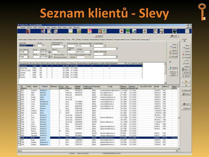 Seznam klientů - Slevy