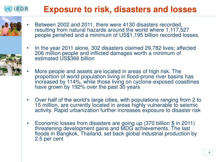 Exposure to risk, disasters and losses