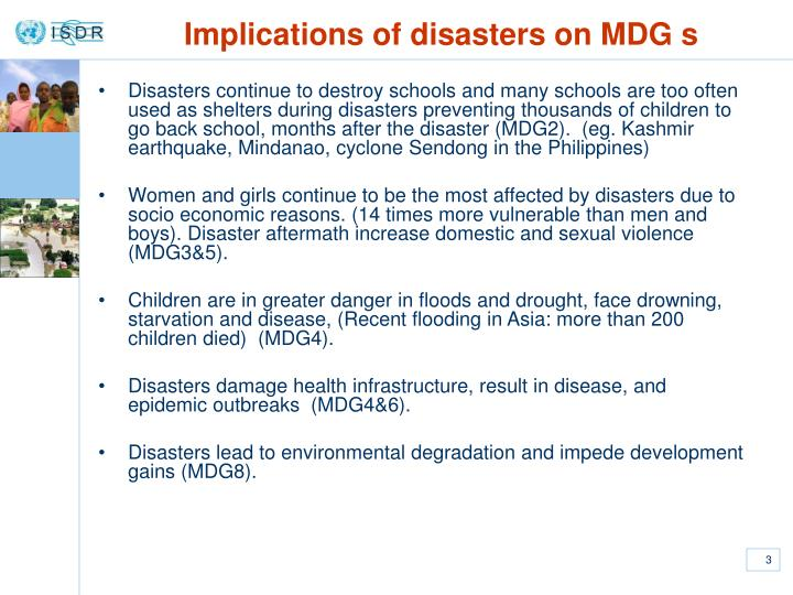 Implications of disasters on mdg s