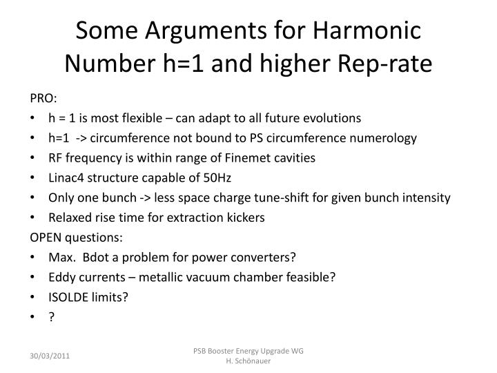 Some Arguments for Harmonic Number h=1 and higher Rep-rate