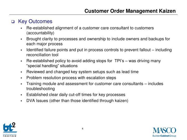 Customer Order Management Kaizen
