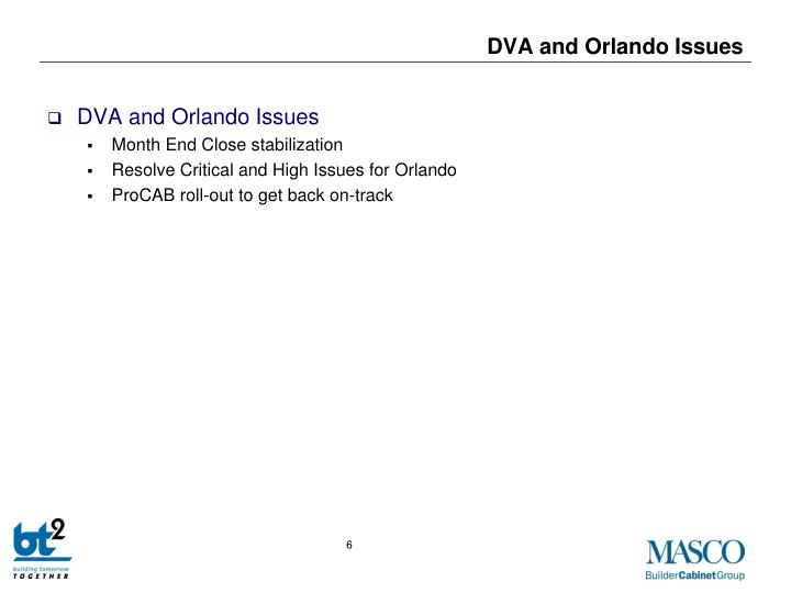 DVA and Orlando Issues