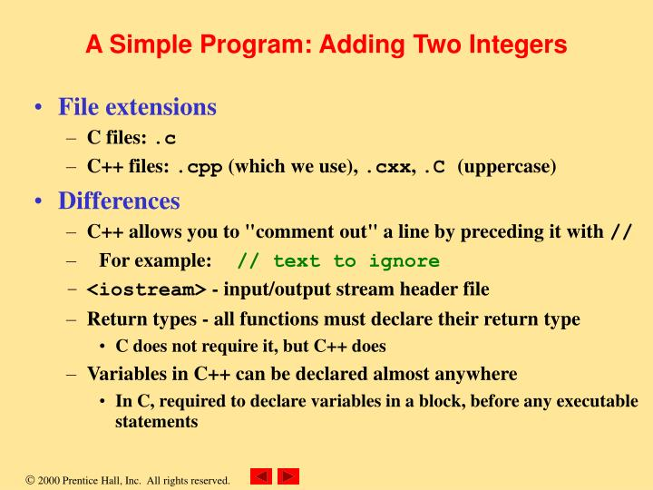 A simple program adding two integers