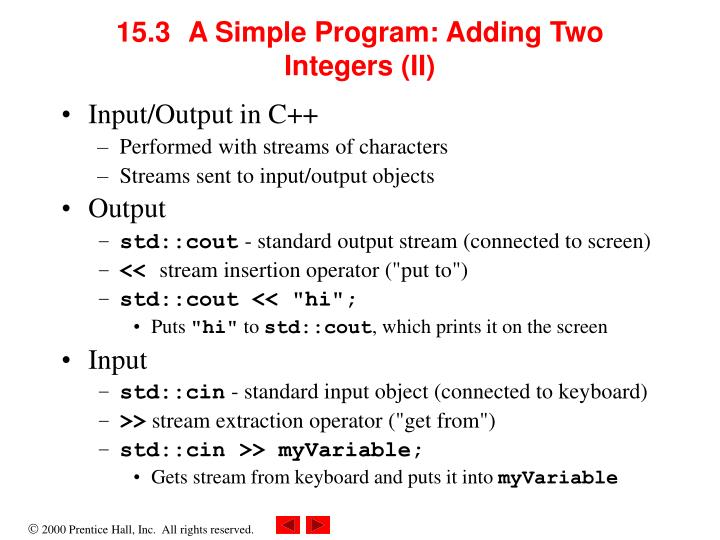 15.3A Simple Program: Adding Two Integers (II)