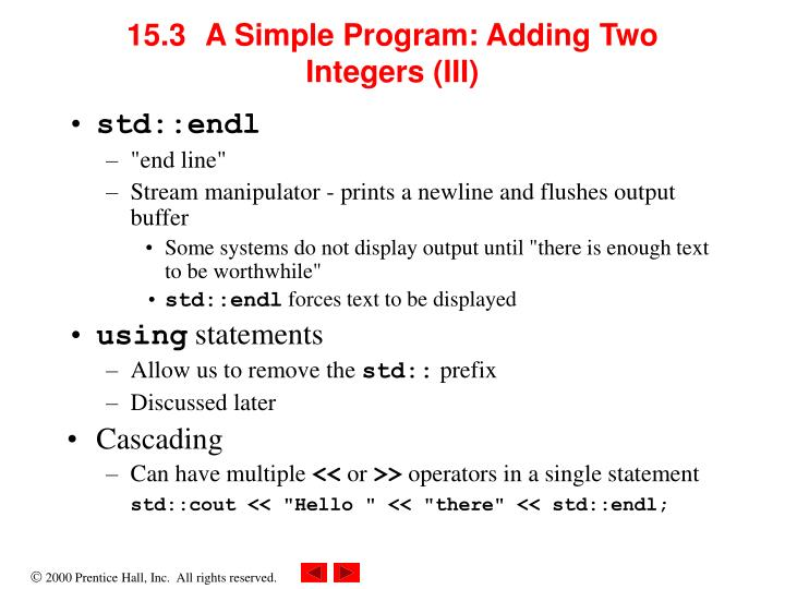 15.3A Simple Program: Adding Two Integers (III)