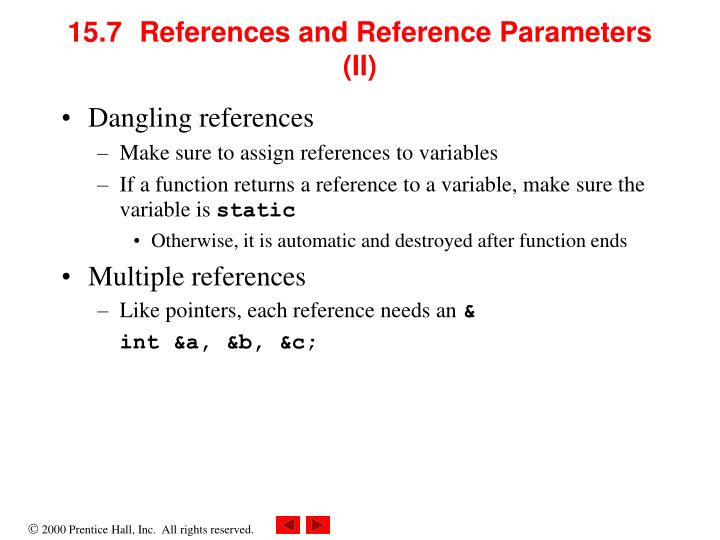 15.7	References and Reference Parameters (II)