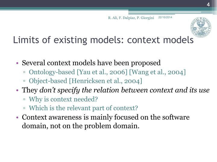 Limits of existing models: context models