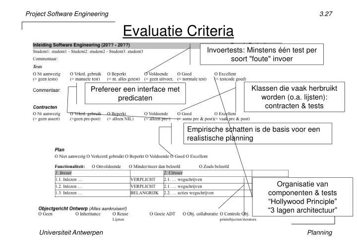 Evaluatie Criteria