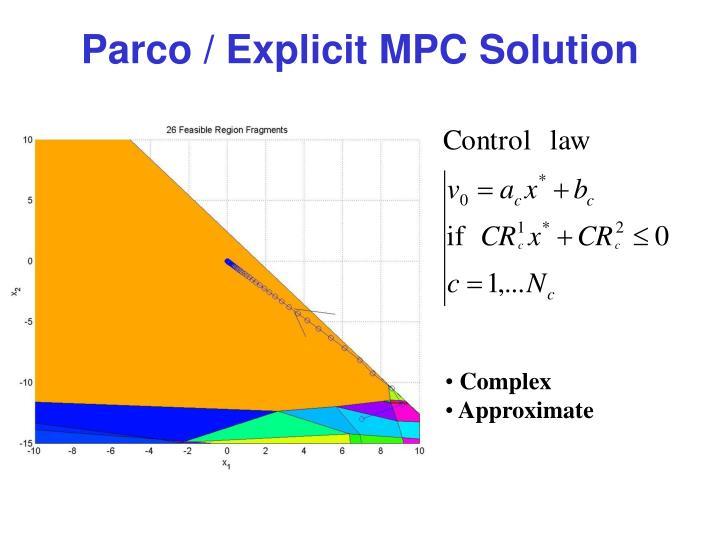 Parco / Explicit MPC Solution