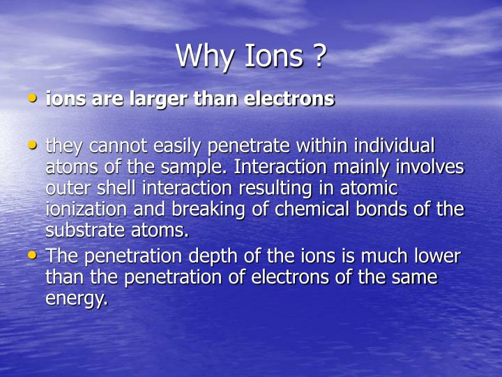 Why Ions ?