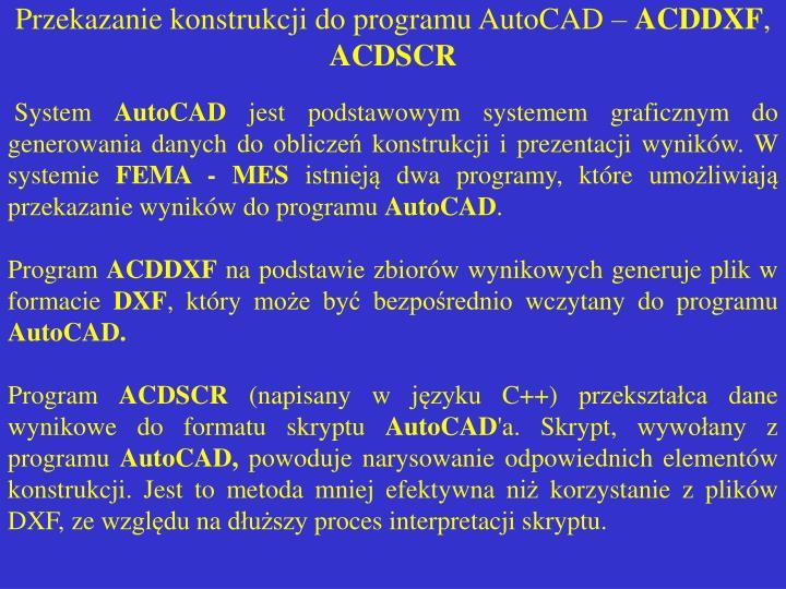 Przekazanie konstrukcji do programu AutoCAD –
