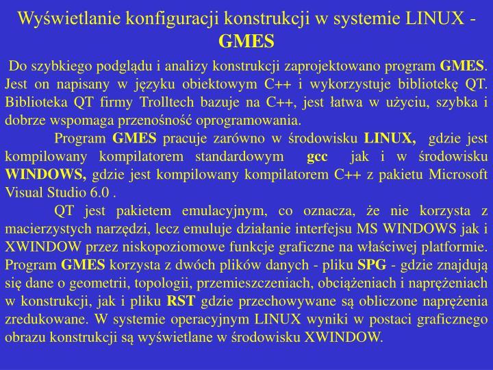 Wyświetlanie konfiguracji konstrukcji w systemie LINUX -