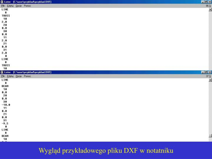 Wygląd przykładowego pliku DXF w notatniku