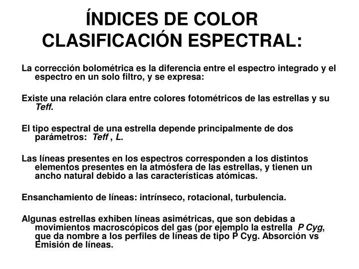ÍNDICES DE COLOR