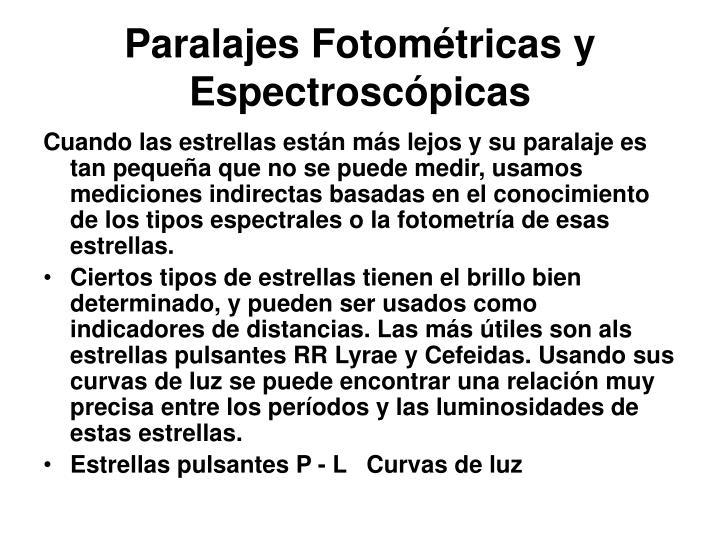 Paralajes Fotométricas y Espectroscópicas