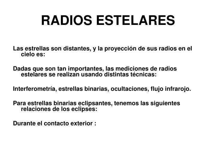 RADIOS ESTELARES