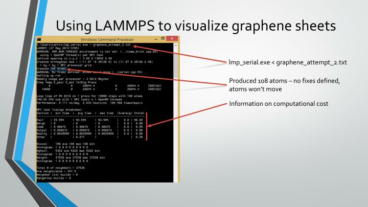 Using LAMMPS to visualize graphene sheets