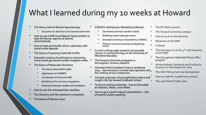 What I learned during my 10 weeks at Howard