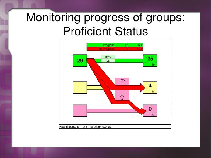 Monitoring progress of groups: Proficient Status