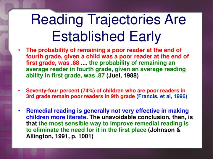 Reading trajectories are established early