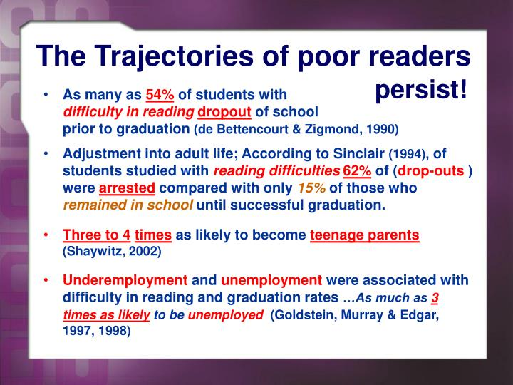 The trajectories of poor readers