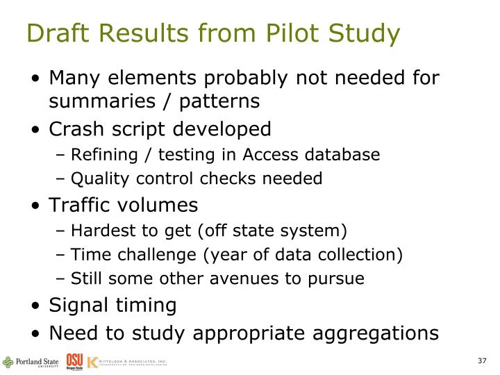 Draft Results from Pilot Study