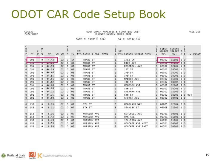 ODOT CAR Code Setup Book