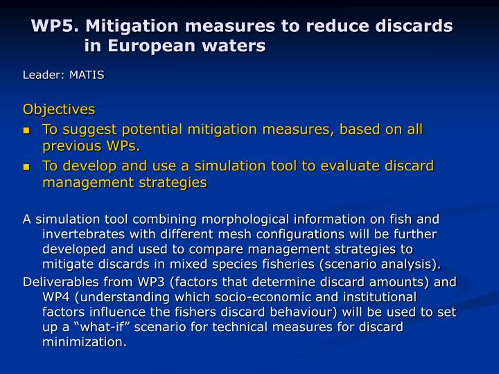 WP5. Mitigation measures to reduce discards in European waters