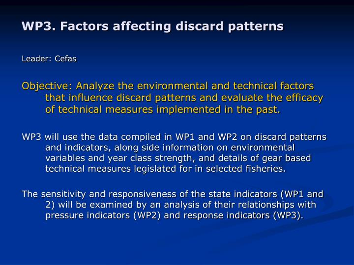 WP3. Factors affecting discard patterns