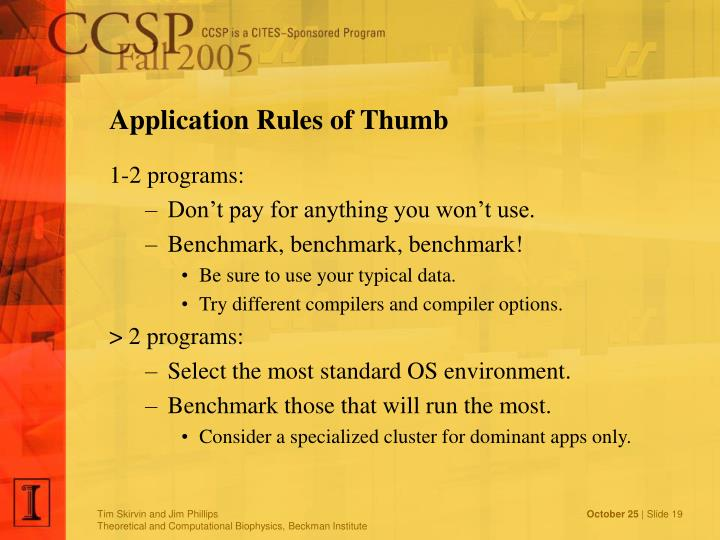 Application Rules of Thumb