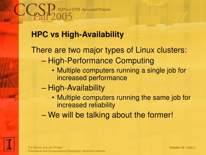 HPC vs High-Availability