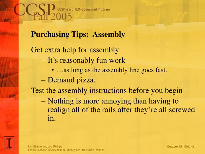 Purchasing Tips:  Assembly