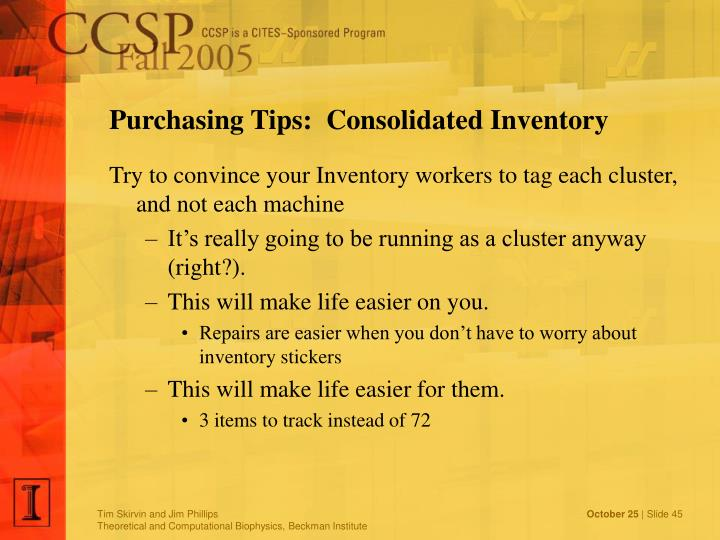 Purchasing Tips:  Consolidated Inventory