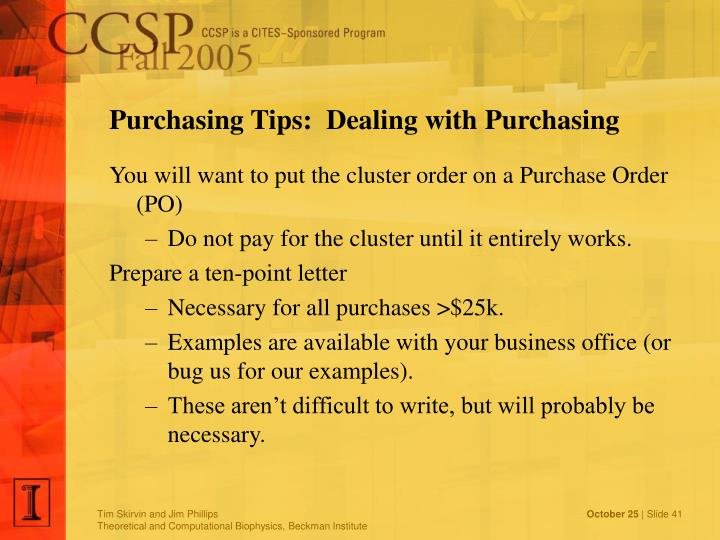 Purchasing Tips:  Dealing with Purchasing