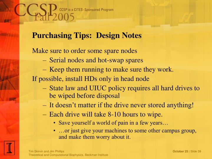 Purchasing Tips:  Design Notes