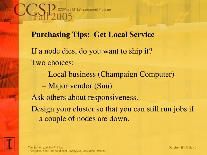 Purchasing Tips:  Get Local Service