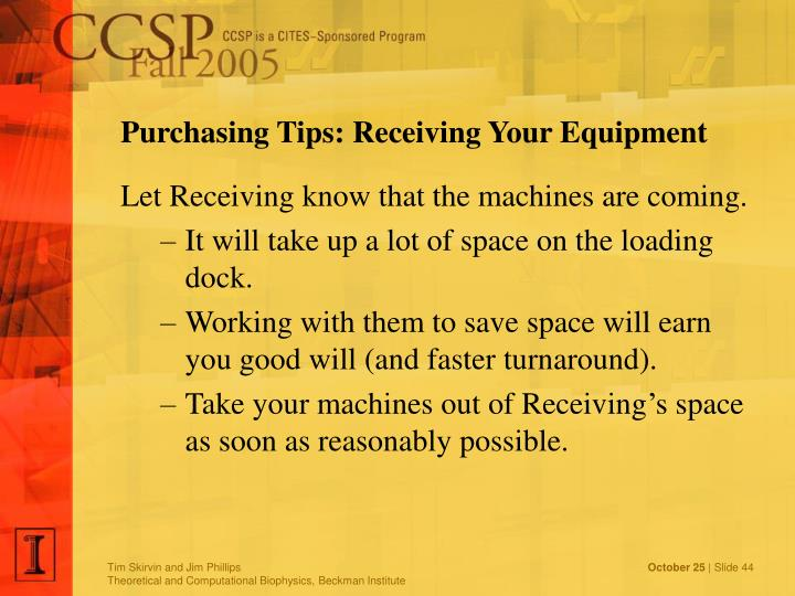 Purchasing Tips: Receiving Your Equipment