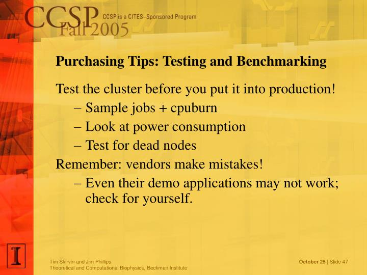 Purchasing Tips: Testing and Benchmarking