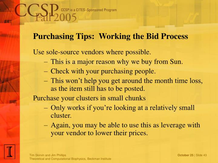 Purchasing Tips:  Working the Bid Process