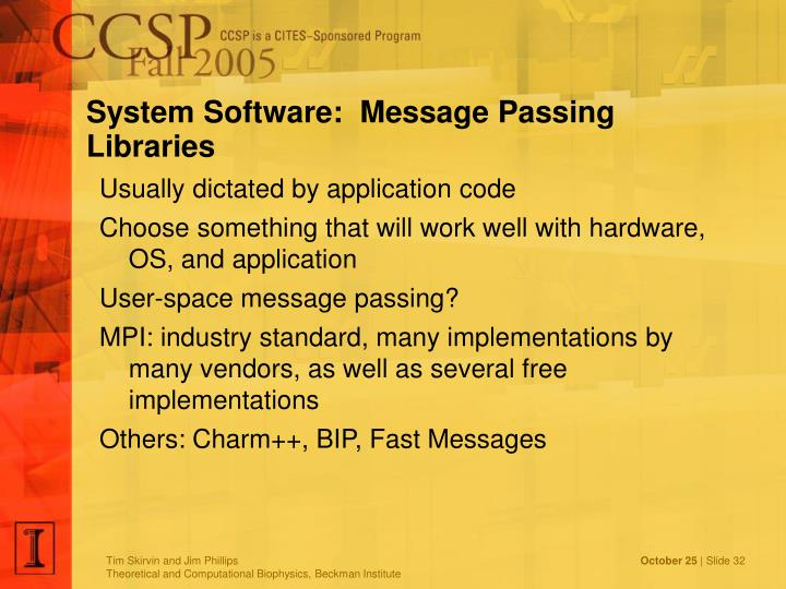 System Software:  Message Passing Libraries