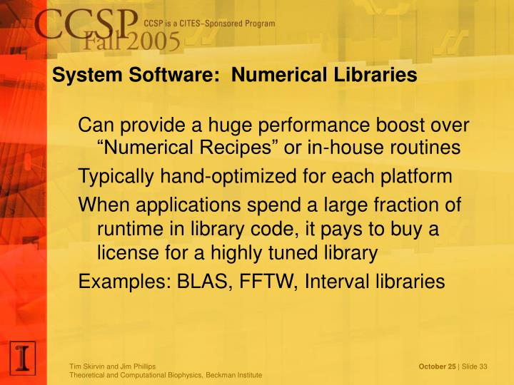 System Software:  Numerical Libraries