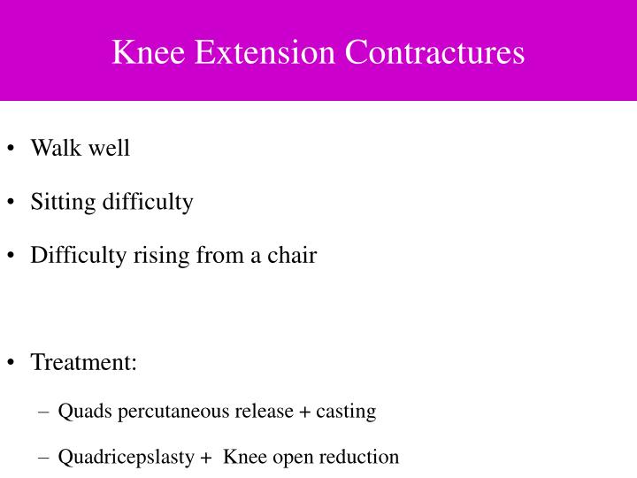 Knee Extension Contractures