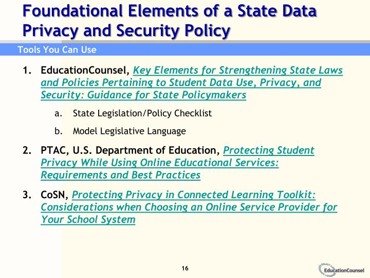 Foundational Elements of a State Data Privacy and Security Policy